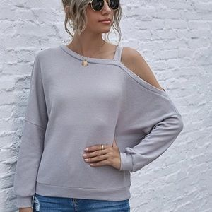 Slit arms waffle knit top